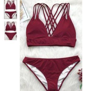 Cupshe Wine Red Get Strappy Bikini Set - S